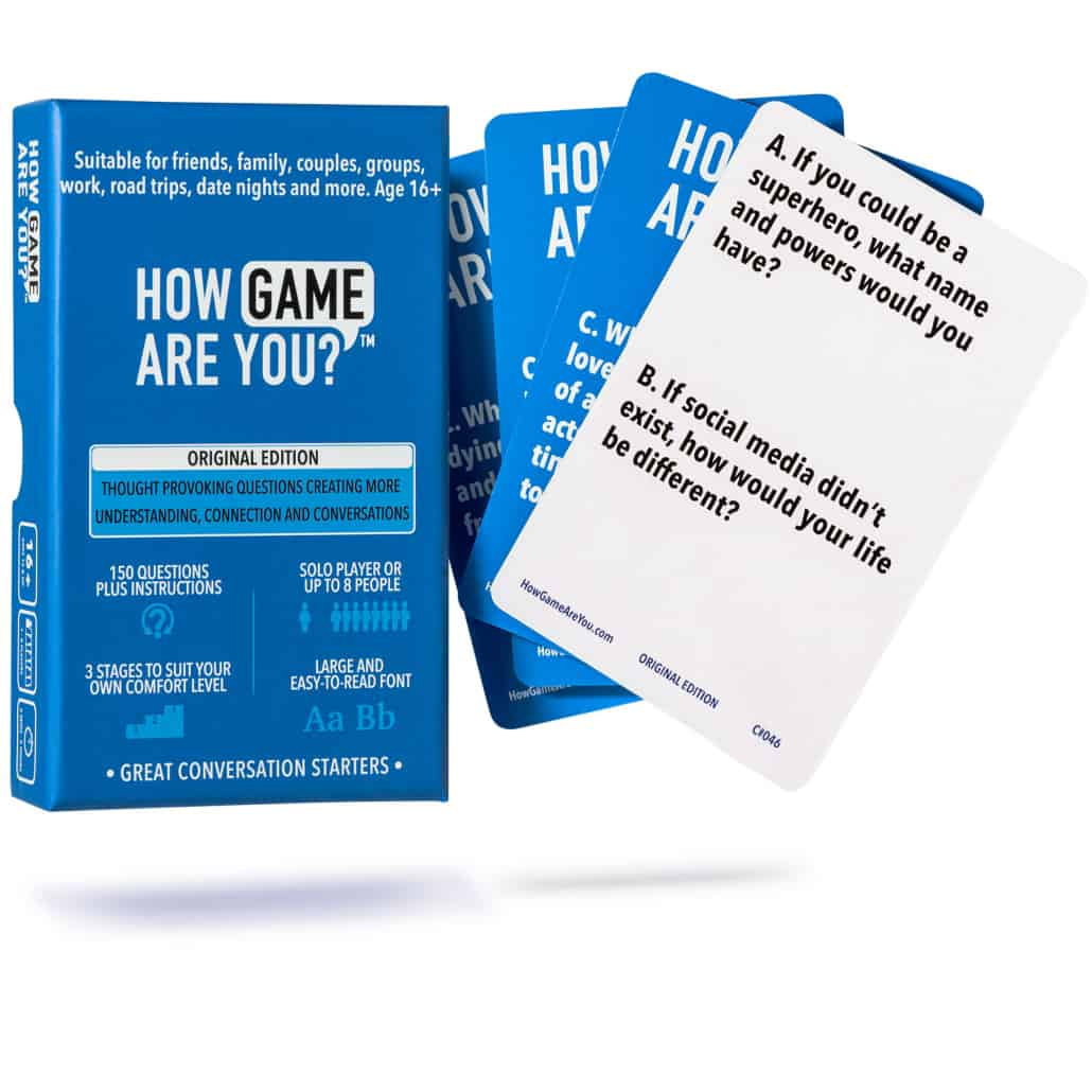 Adult conversation game question cards families